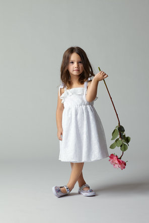Flower Girl Dresses, Ruffled Wedding Dresses, Lace Wedding Dresses, Fashion, white, Lace, Ribbons, Sashes, Ruffles, Seahorse, Sleeveless, knee length, square neck