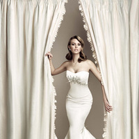 Wedding Dresses, Fashion, Strapless, Strapless Wedding Dresses, Fit and flare, Simone carvalli, crystal beading, beaded bust, silk satin, pleat