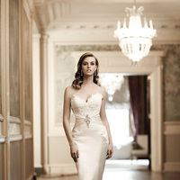 Wedding Dresses, Sweetheart Wedding Dresses, Lace Wedding Dresses, Fashion, Lace, Sweetheart, Strapless, Strapless Wedding Dresses, Beading, Natural waist, Simone carvalli, chapel train, Beaded Wedding Dresses, cinched waist, silk satin, asymmetric pleat