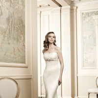 Wedding Dresses, Fashion, Mermaid, Strapless, Strapless Wedding Dresses, Simone carvalli, empire waist, silk satin, beaded trim