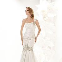 Wedding Dresses, One-Shoulder Wedding Dresses, Fashion, Fit and flare, Simone carvalli, One-shoulder, dropped waist, pleated bodice, beaded strap, silk taffeta