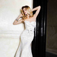 Wedding Dresses, Sweetheart Wedding Dresses, Lace Wedding Dresses, Fashion, Lace, Sweetheart, Strapless, Strapless Wedding Dresses, Fit and flare, Satin, Simone carvalli, scalloped trim, satin wedding dresses