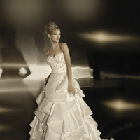 Wedding Dresses, Sweetheart Wedding Dresses, A-line Wedding Dresses, Fashion, Sweetheart, Strapless, Strapless Wedding Dresses, A-line, Satin, Organza, Silk, Simone carvalli, layered skirt, Beaded bodice, floral motif, organza wedding dresses, folded skirt, satin wedding dresses, Silk Wedding Dresses