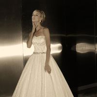 Wedding Dresses, A-line Wedding Dresses, Fashion, Strapless, Strapless Wedding Dresses, A-line, Tulle, Beaded belt, Simone carvalli, pleated bodice, tulle wedding dresses