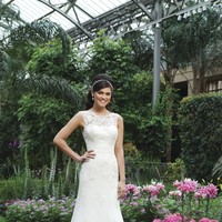 Wedding Dresses, A-line Wedding Dresses, Lace Wedding Dresses, Fashion, Lace, A-line, Tulle, Sincerity, bateau, beaded lace, sheer neckline, Bateau Wedding Dresses, tulle wedding dresses, chiffon cummerbund