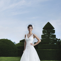 Wedding Dresses, A-line Wedding Dresses, Lace Wedding Dresses, Fashion, Lace, A-line, V-neck, V-neck Wedding Dresses, Tulle, Sleeveless, Sincerity, chapel train, sheer straps, tulle wedding dresses