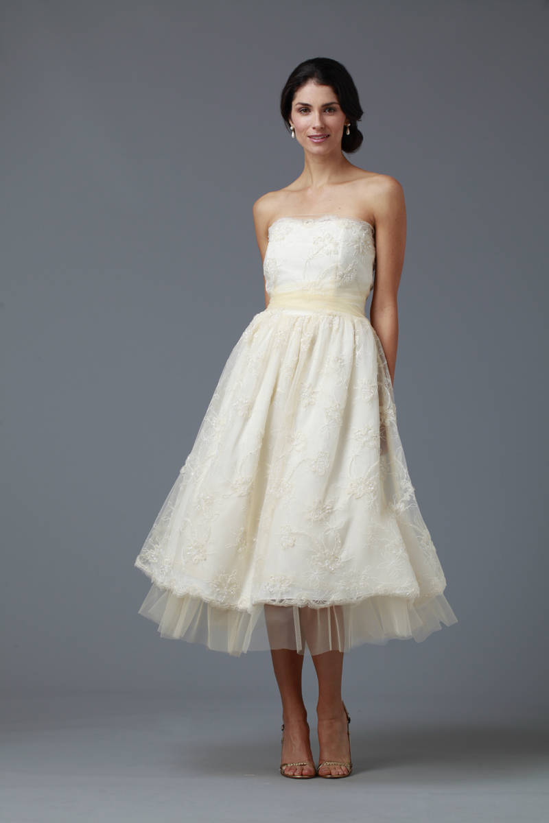 Wedding Dresses, Sweetheart Wedding Dresses, A-line Wedding Dresses, Lace Wedding Dresses, Fashion, white, ivory, Rustic, Shabby Chic, Boho Chic, Lace, Sweetheart, Strapless, Strapless Wedding Dresses, A-line, Sash, Tea, Belt, Tulle, Informal, Tea Length Wedding Dresses, rustic wedding dresses, Boho Chic Wedding Dresses, tulle wedding dresses, siri bridal, Informal Wedding Dresses, Shabby Chic Wedding Dresses