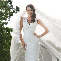 Wedding Dresses, Lace, Satin, Vneck, Sophia Tolli, Sweep, bridal fashion