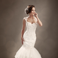 Wedding Dresses, Lace, Beading, Corset, Sophia Tolli, dropped waist, bridal fashion, queen anne neckline