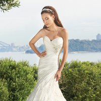 Wedding Dresses, Mermaid, Sweetheart, Satin, Sophia Tolli, bridal fashion, lace applique, asymmetrical waist