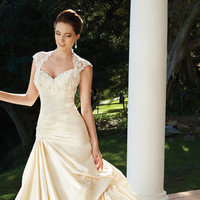 Wedding Dresses, A-line, Cap sleeves, Chapel, Taffeta, Sophia Tolli, bridal fashion, queen anne neckline