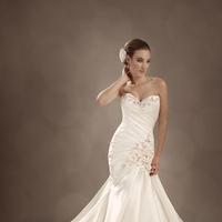 Wedding Dresses, Beading, Corset, Asymmetrical, Satin, Chapel, Sophia Tolli, dropped waist, bridal fashion, lace applique