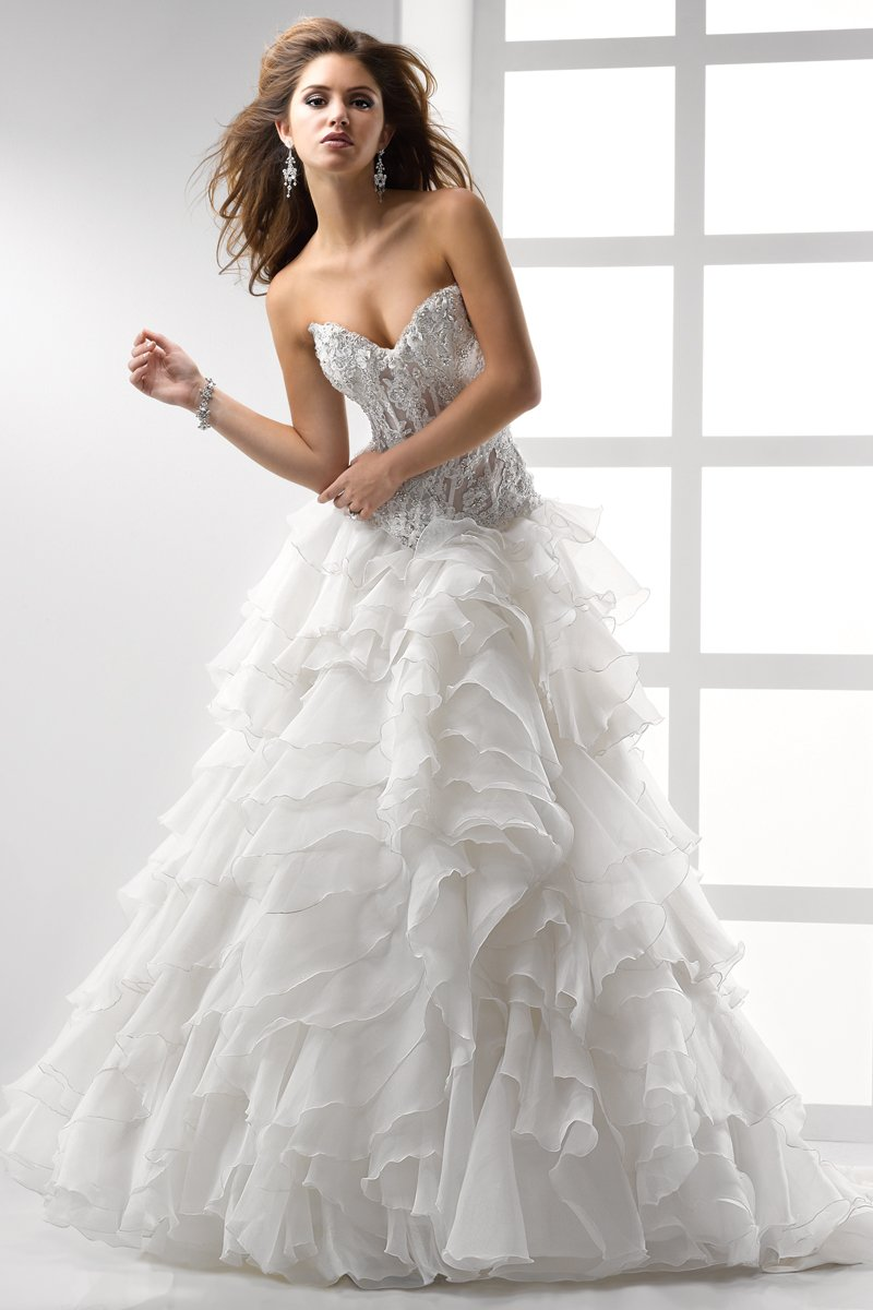 Wedding Dresses, Sweetheart Wedding Dresses, A-line Wedding Dresses, Ball Gown Wedding Dresses, Ruffled Wedding Dresses, Lace Wedding Dresses, Fashion, white, ivory, Lace, Sweetheart, Strapless, Strapless Wedding Dresses, A-line, Beading, Floor, Organza, Ruffles, Sleeveless, Ball gown, Sottero & Midgley, Avant-Garde, Beaded Wedding Dresses, organza wedding dresses, Floor Wedding Dresses