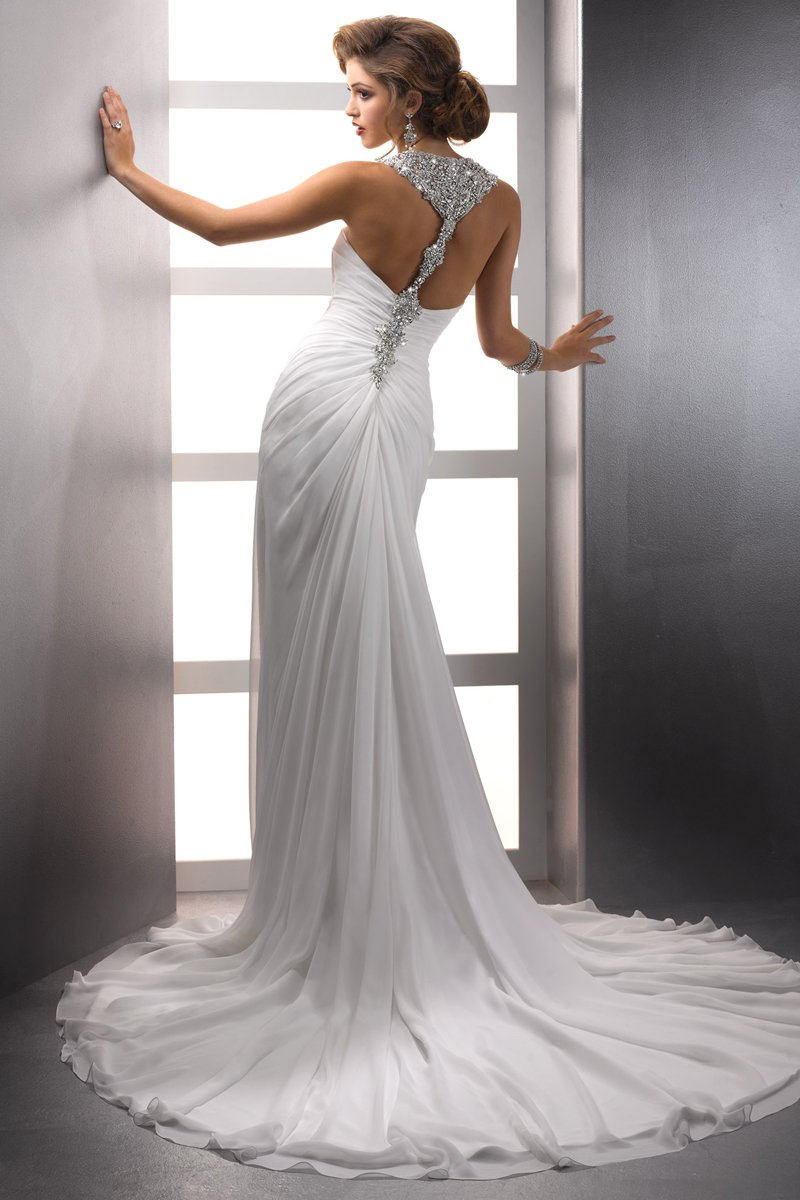 Wedding Dresses, Romantic Wedding Dresses, Beach Wedding Dresses, Fashion, white, ivory, Beach, City, Romantic, Beading, Halter, V-neck, V-neck Wedding Dresses, Sheath, Floor, Chiffon, Natural, Ruching, Sottero & Midgley, halter wedding dresses, Beaded Wedding Dresses, Sheath Wedding Dresses, Chiffon Wedding Dresses, Floor Wedding Dresses
