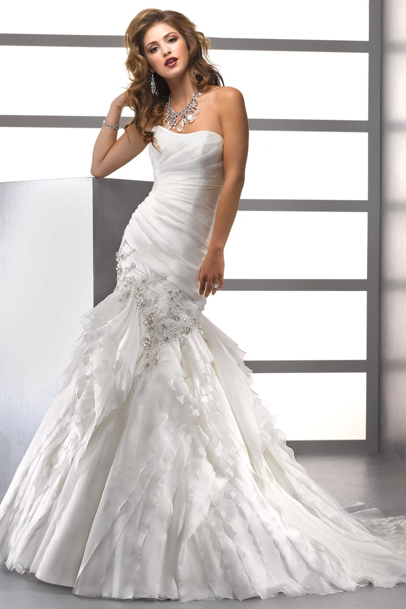 Wedding Dresses, Mermaid Wedding Dresses, Ruffled Wedding Dresses, Beach Wedding Dresses, Fashion, white, ivory, Beach, Shabby Chic, Strapless, Strapless Wedding Dresses, Beading, Floor, Formal, Organza, Ballroom, Ruffles, Tiers, Dropped, Ruching, Sottero & Midgley, Mermaid/Trumpet, Beaded Wedding Dresses, organza wedding dresses, trumpet wedding dresses, Formal Wedding Dresses, Floor Wedding Dresses, Shabby Chic Wedding Dresses, Tiered Wedding Dresses
