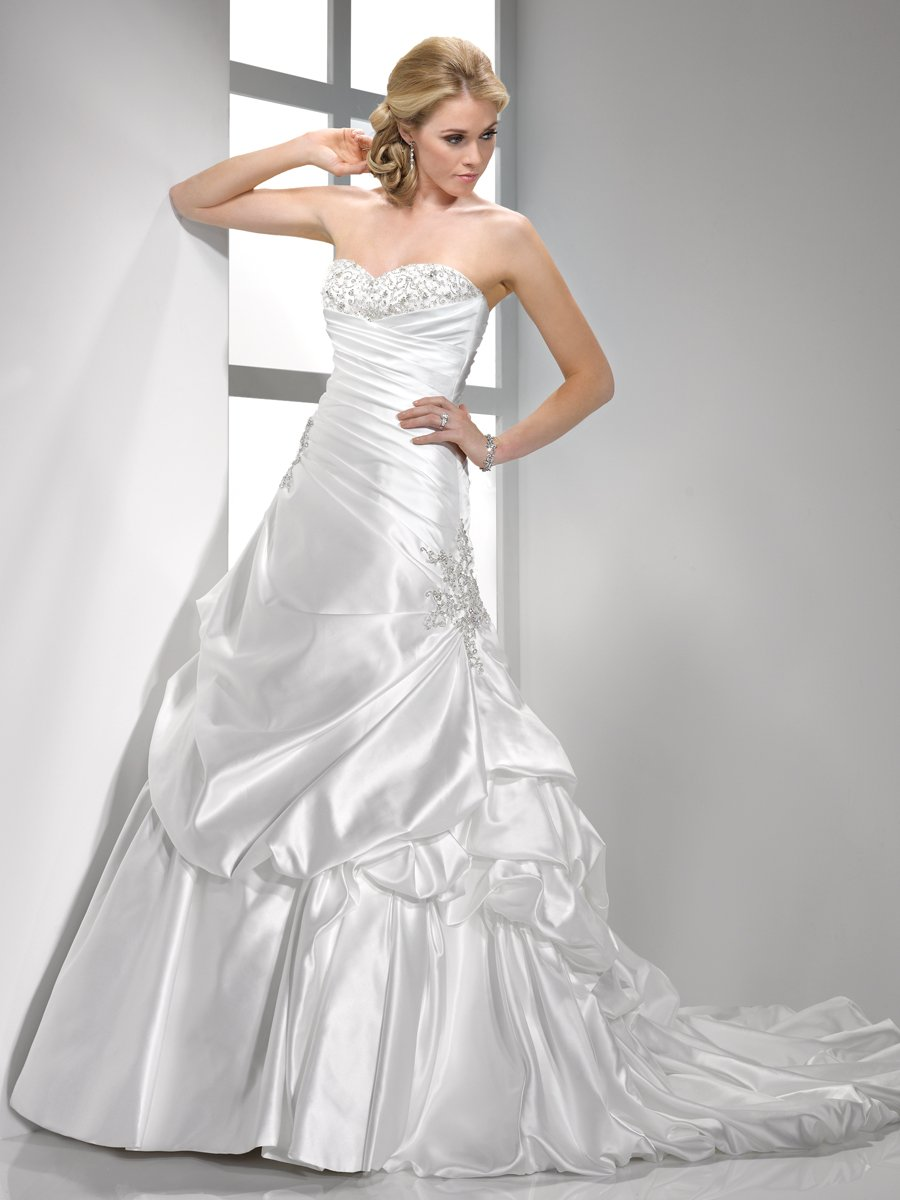 Wedding Dresses, Sweetheart Wedding Dresses, A-line Wedding Dresses, Hollywood Glam Wedding Dresses, Fashion, white, ivory, Sweetheart, Strapless, Strapless Wedding Dresses, A-line, Beading, Satin, Floor, Pleats, Pick-ups, Sleeveless, Sottero & Midgley, hollywood glam, Beaded Wedding Dresses, satin wedding dresses, Floor Wedding Dresses