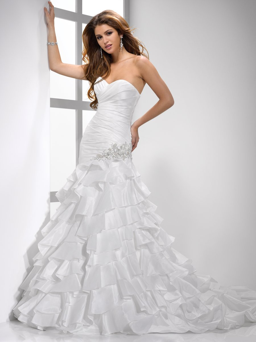 Wedding Dresses, Sweetheart Wedding Dresses, A-line Wedding Dresses, Ruffled Wedding Dresses, Hollywood Glam Wedding Dresses, Fashion, white, ivory, Sweetheart, Strapless, Strapless Wedding Dresses, A-line, Beading, Floor, Ruffles, Dropped, Taffeta, Sleeveless, Sottero & Midgley, hollywood glam, Beaded Wedding Dresses, taffeta wedding dresses, Floor Wedding Dresses