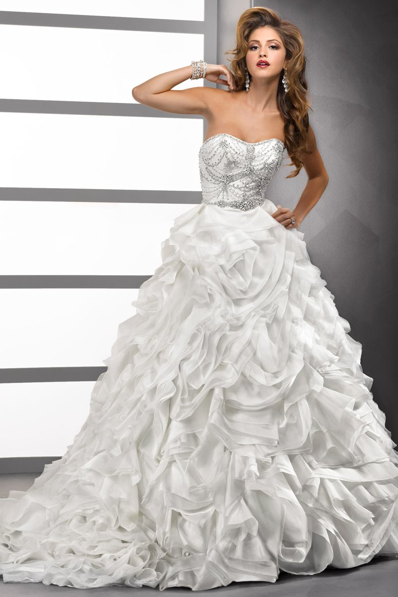Wedding Dresses, Sweetheart Wedding Dresses, Ball Gown Wedding Dresses, Fashion, white, ivory, Winter, Sweetheart, Strapless, Strapless Wedding Dresses, Beading, Floor, Formal, Organza, Natural, Ballroom, Tiers, Ball gown, Sottero & Midgley, Beaded Wedding Dresses, organza wedding dresses, winter wedding dresses, Formal Wedding Dresses, Floor Wedding Dresses, Tiered Wedding Dresses