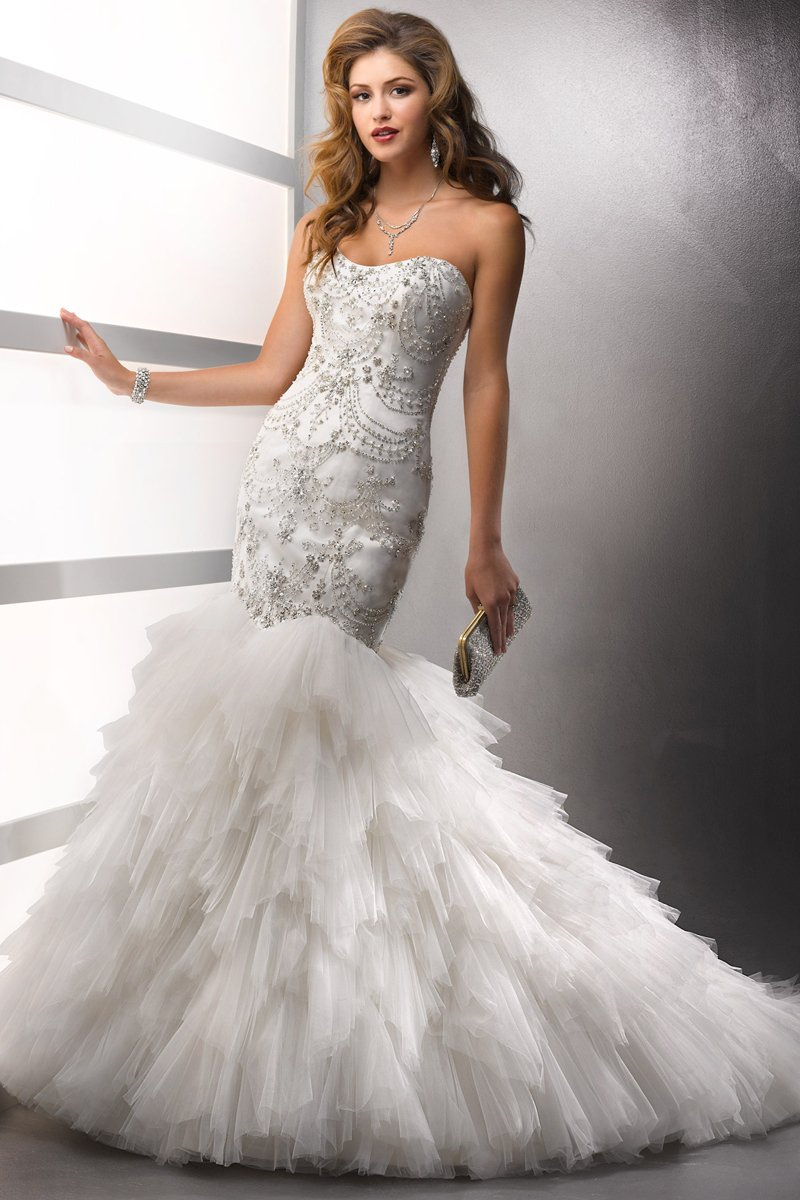 Wedding Dresses, Mermaid Wedding Dresses, Ruffled Wedding Dresses, Fashion, white, ivory, Strapless, Strapless Wedding Dresses, Beading, Tulle, Satin, Floor, Formal, Ballroom, Ruffles, Tiers, Dropped, Sottero & Midgley, Mermaid/Trumpet, Beaded Wedding Dresses, trumpet wedding dresses, tulle wedding dresses, satin wedding dresses, Formal Wedding Dresses, Floor Wedding Dresses, Tiered Wedding Dresses