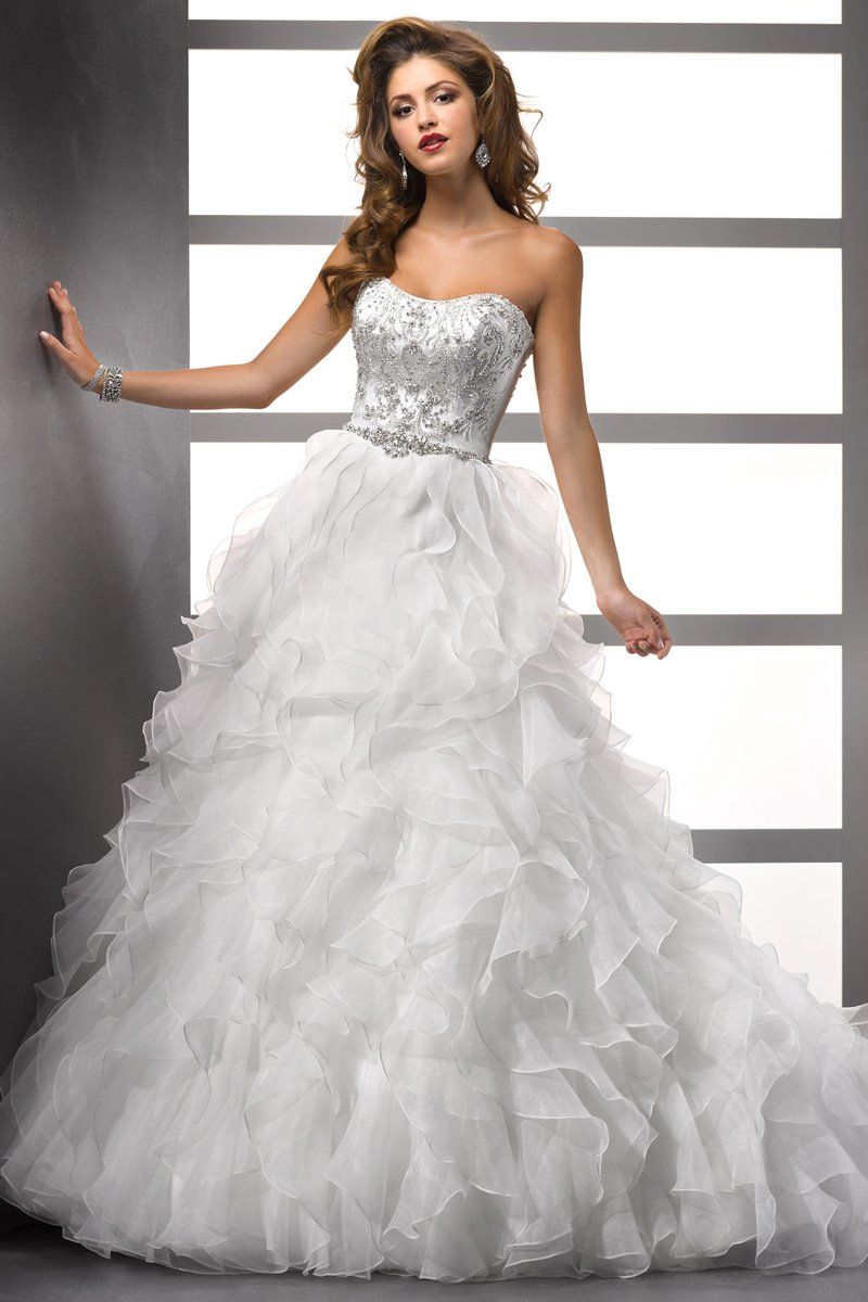 Wedding Dresses, Ball Gown Wedding Dresses, Ruffled Wedding Dresses, Fashion, white, ivory, Winter, Strapless, Strapless Wedding Dresses, Beading, Floor, Formal, Organza, Natural, Ballroom, Ruffles, Tiers, Ball gown, Sottero & Midgley, Beaded Wedding Dresses, organza wedding dresses, winter wedding dresses, Formal Wedding Dresses, Floor Wedding Dresses, Tiered Wedding Dresses