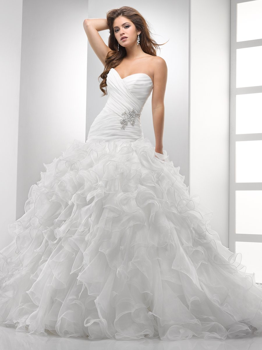 Wedding Dresses, Sweetheart Wedding Dresses, Ball Gown Wedding Dresses, Ruffled Wedding Dresses, Fashion, white, ivory, Fall, Flowers, Sweetheart, Beading, Tulle, Petals, Floor, Organza, Ruffles, Dropped, Sleeveless, Ball gown, Sottero & Midgley, Avant-Garde, Beaded Wedding Dresses, organza wedding dresses, tulle wedding dresses, Flower Wedding Dresses, Fall Wedding Dresses, Floor Wedding Dresses