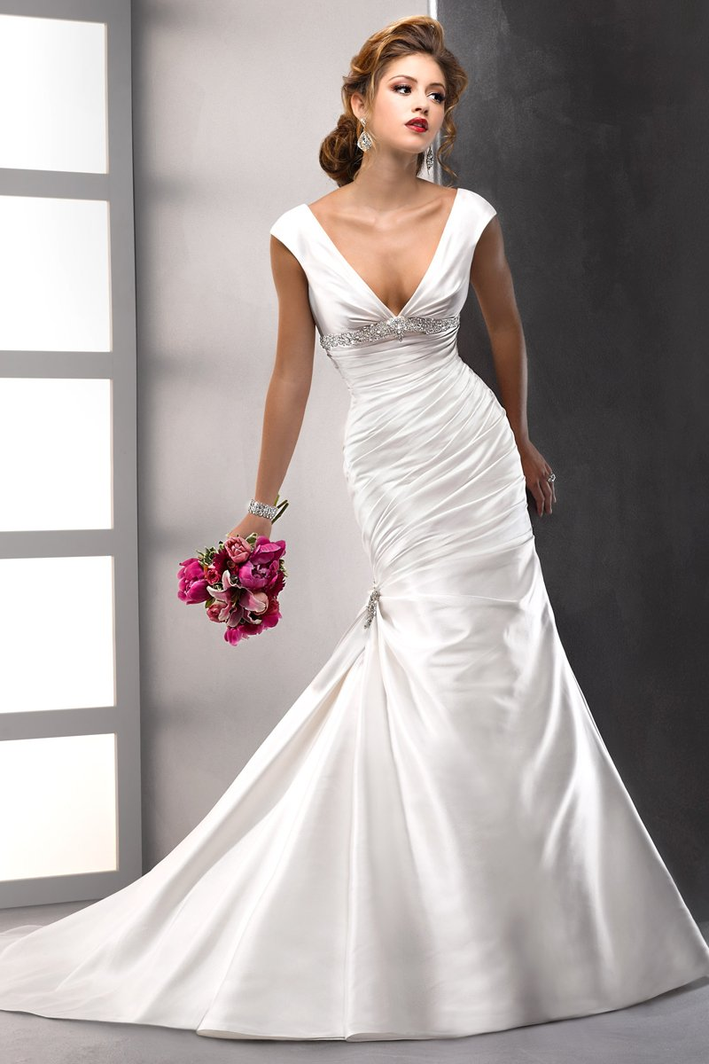 Wedding Dresses, A-line Wedding Dresses, Hollywood Glam Wedding Dresses, Fashion, white, Classic, A-line, Beading, Empire, V-neck, V-neck Wedding Dresses, Satin, Floor, Ballroom, Ruching, Sottero & Midgley, cap sleeve, hollywood glam, historic site, Beaded Wedding Dresses, Classic Wedding Dresses, satin wedding dresses, Floor Wedding Dresses