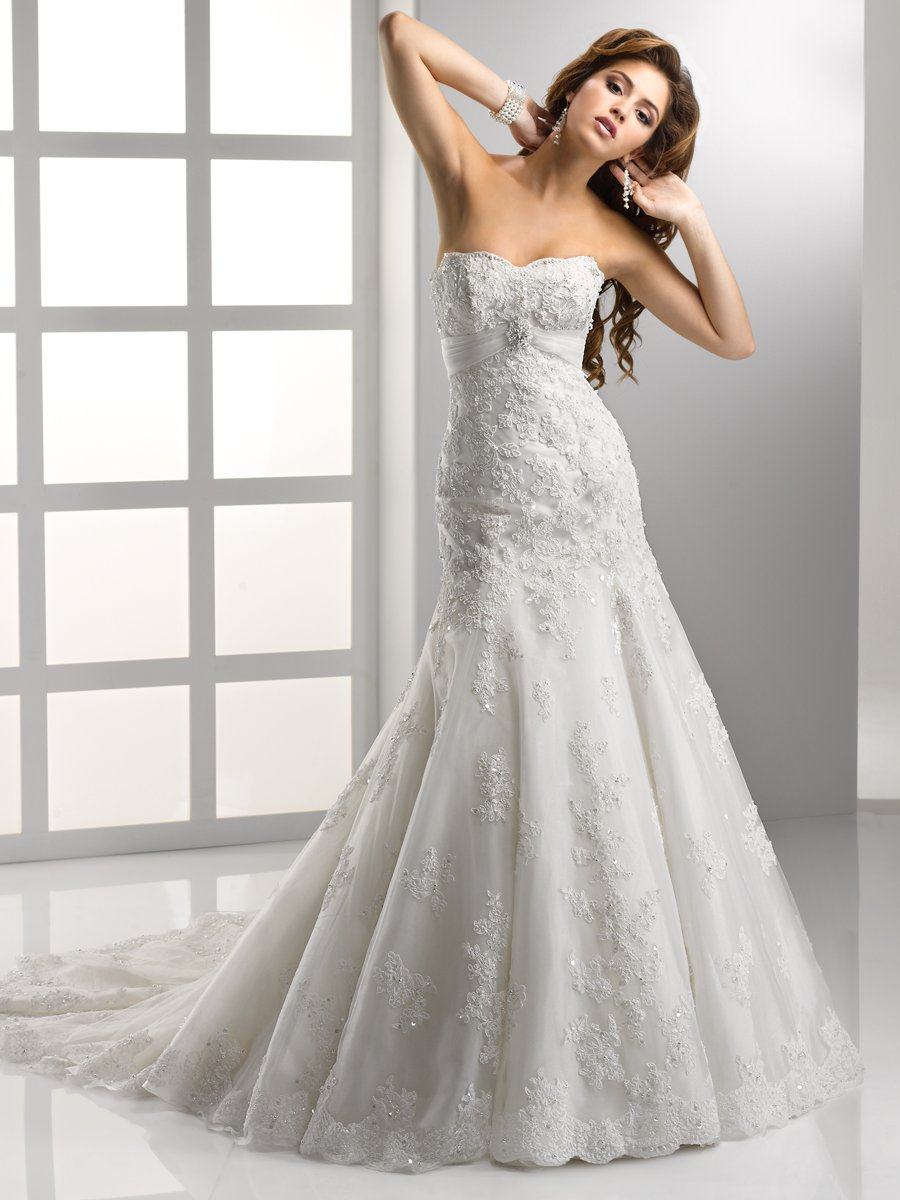 Wedding Dresses, Sweetheart Wedding Dresses, Mermaid Wedding Dresses, Lace Wedding Dresses, Romantic Wedding Dresses, Fashion, white, ivory, Classic, Romantic, Lace, Sweetheart, Strapless, Strapless Wedding Dresses, Beading, Empire, Tulle, Floor, Sleeveless, Sottero & Midgley, Fit-n-Flare, Beaded Wedding Dresses, Classic Wedding Dresses, tulle wedding dresses, Floor Wedding Dresses