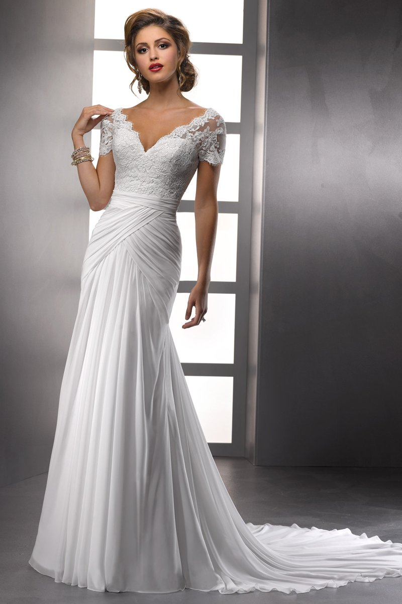 Wedding Dresses, A-line Wedding Dresses, Lace Wedding Dresses, Hollywood Glam Wedding Dresses, Fashion, white, ivory, Lace, A-line, V-neck, V-neck Wedding Dresses, Satin, Floor, Pleats, Sottero & Midgley, hollywood glam, satin wedding dresses, Floor Wedding Dresses