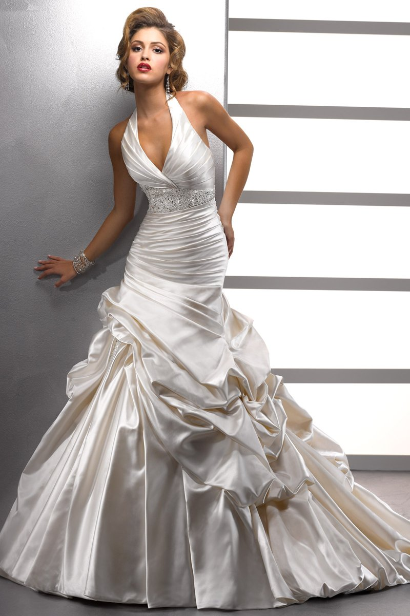 Wedding Dresses, A-line Wedding Dresses, Fashion, white, A-line, Beading, Halter, Satin, Floor, Formal, Ballroom, Dropped, Pick-ups, Sleeveless, Ruching, Sottero & Midgley, Avant-Garde, halter wedding dresses, Beaded Wedding Dresses, satin wedding dresses, Formal Wedding Dresses, Floor Wedding Dresses