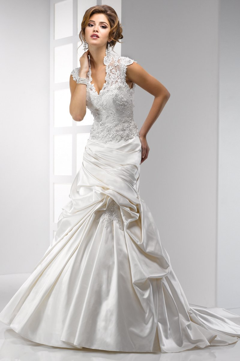 Wedding Dresses, A-line Wedding Dresses, Lace Wedding Dresses, Hollywood Glam Wedding Dresses, Fashion, white, ivory, Lace, A-line, Beading, V-neck, V-neck Wedding Dresses, Satin, Floor, Pleats, Sottero & Midgley, high-neck, cap sleeve, hollywood glam, Beaded Wedding Dresses, High Neck Wedding Dresses, satin wedding dresses, Floor Wedding Dresses
