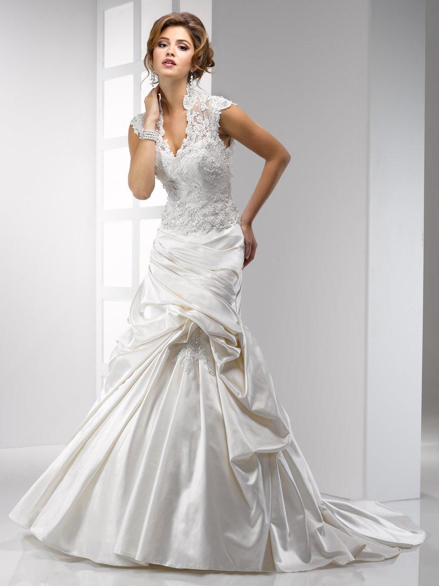 Wedding Dresses, Lace Wedding Dresses, Hollywood Glam Wedding Dresses, Fashion, Lace, Cap sleeves, V-neck, V-neck Wedding Dresses, Tulle, Floor, Sottero & Midgley, high-neck, hollywood glam, High Neck Wedding Dresses, tulle wedding dresses, Floor Wedding Dresses
