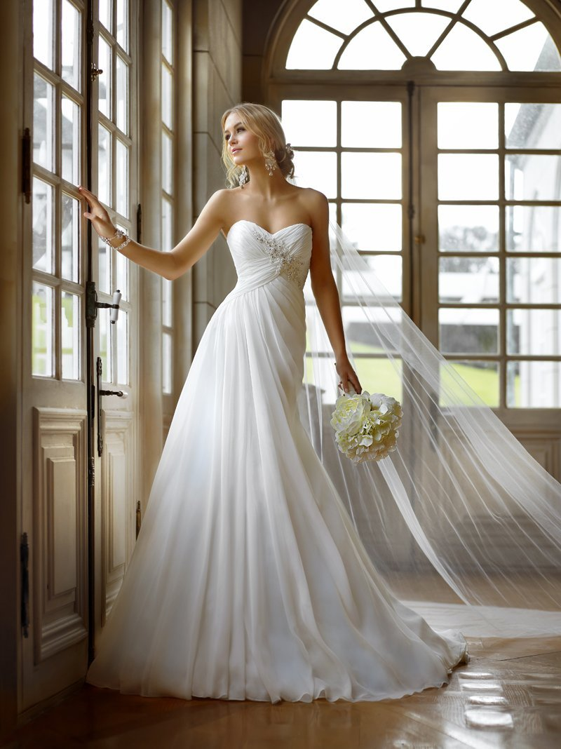 Wedding Dresses, Sweetheart Wedding Dresses, A-line Wedding Dresses, Fashion, white, Summer, Sweetheart, Strapless, Strapless Wedding Dresses, A-line, Beading, Empire, Floor, Chiffon, Country, Ballroom, Pleats, Ruching, Beaded Wedding Dresses, Stella York, Chiffon Wedding Dresses, Summer Wedding Dresses, Floor Wedding Dresses