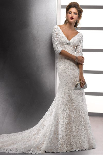 Wedding Dresses, A-line Wedding Dresses, Lace Wedding Dresses, Vintage Wedding Dresses, Hollywood Glam Wedding Dresses, Fashion, white, ivory, Vintage, Lace, A-line, Beading, Empire, V-neck, V-neck Wedding Dresses, Floor, Modest, Sottero & Midgley, hollywood glam, illusion sleeves, 3/4 sleeve, House of Worship, Beaded Wedding Dresses, Floor Wedding Dresses, Modest Wedding Dresses