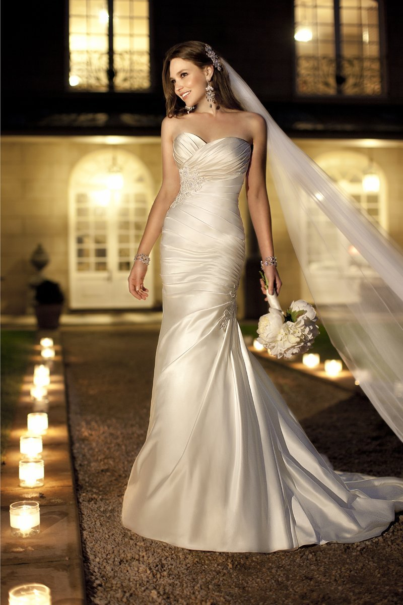 Wedding Dresses, Sweetheart Wedding Dresses, Fashion, white, ivory, Sweetheart, Strapless, Strapless Wedding Dresses, Beading, Sheath, Satin, Floor, Formal, Ballroom, Ruching, Beaded Wedding Dresses, Stella York, satin wedding dresses, Sheath Wedding Dresses, Formal Wedding Dresses, Floor Wedding Dresses