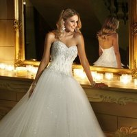 Wedding Dresses, Sweetheart Wedding Dresses, A-line Wedding Dresses, Ball Gown Wedding Dresses, Romantic Wedding Dresses, Fashion, white, ivory, Romantic, Sweetheart, Strapless, Strapless Wedding Dresses, A-line, Beading, Satin, Floor, Formal, Ballroom, Ball gown, Beaded Wedding Dresses, Stella York, satin wedding dresses, Formal Wedding Dresses, Floor Wedding Dresses