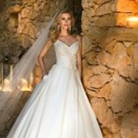 Wedding Dresses, Sweetheart Wedding Dresses, A-line Wedding Dresses, Romantic Wedding Dresses, Fashion, white, ivory, Classic, Flowers, Romantic, Sweetheart, A-line, Spaghetti straps, Floor, Formal, Natural, Pleats, Sleeveless, Classic Wedding Dresses, Stella York, Flower Wedding Dresses, Spahetti Strap Wedding Dresses, Formal Wedding Dresses, Floor Wedding Dresses