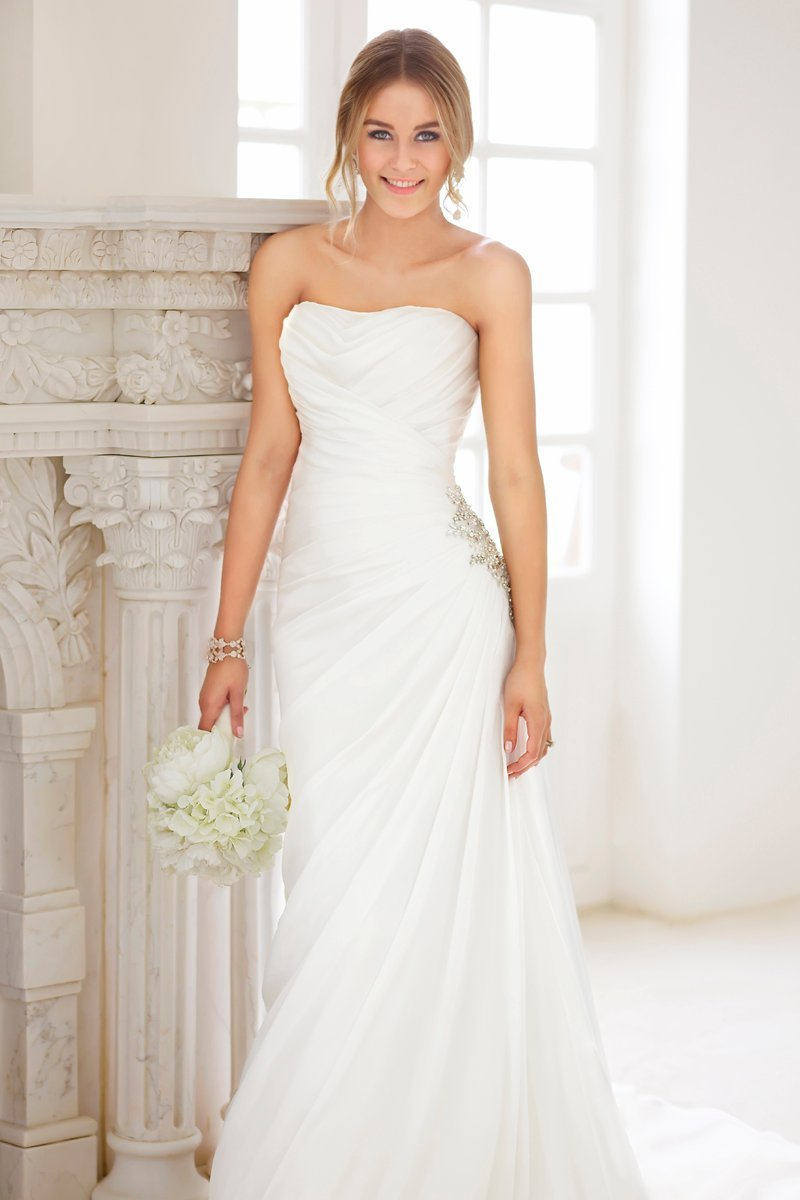 Wedding Dresses, Fashion, white, Summer, Classic, Strapless, Strapless Wedding Dresses, Beading, Sheath, Floor, Chiffon, Country, Natural, Ruching, Beaded Wedding Dresses, Classic Wedding Dresses, Stella York, Sheath Wedding Dresses, Chiffon Wedding Dresses, Summer Wedding Dresses, Floor Wedding Dresses