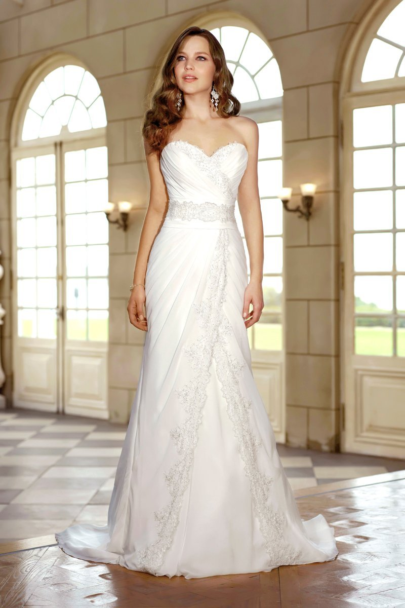 Wedding Dresses, Sweetheart Wedding Dresses, Romantic Wedding Dresses, Vintage Wedding Dresses, Fashion, white, ivory, Summer, Vintage, Romantic, Sweetheart, Strapless, Strapless Wedding Dresses, Beading, Sheath, Floor, Chiffon, Country, Natural, Ruching, Sash/Belt, Beaded Wedding Dresses, Stella York, Sheath Wedding Dresses, Chiffon Wedding Dresses, Summer Wedding Dresses, Floor Wedding Dresses, Sash Wedding Dresses, Belt Wedding Dresses