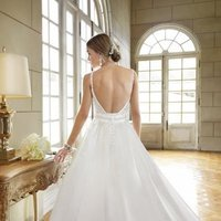 Wedding Dresses, A-line Wedding Dresses, Ball Gown Wedding Dresses, Romantic Wedding Dresses, Vintage Wedding Dresses, Fashion, white, ivory, Vintage, Garden, Shabby Chic, Romantic, A-line, Beading, V-neck, V-neck Wedding Dresses, Satin, Floor, Country, Natural, Sleeveless, Ball gown, Beaded Wedding Dresses, Stella York, satin wedding dresses, Floor Wedding Dresses, Shabby Chic Wedding Dresses