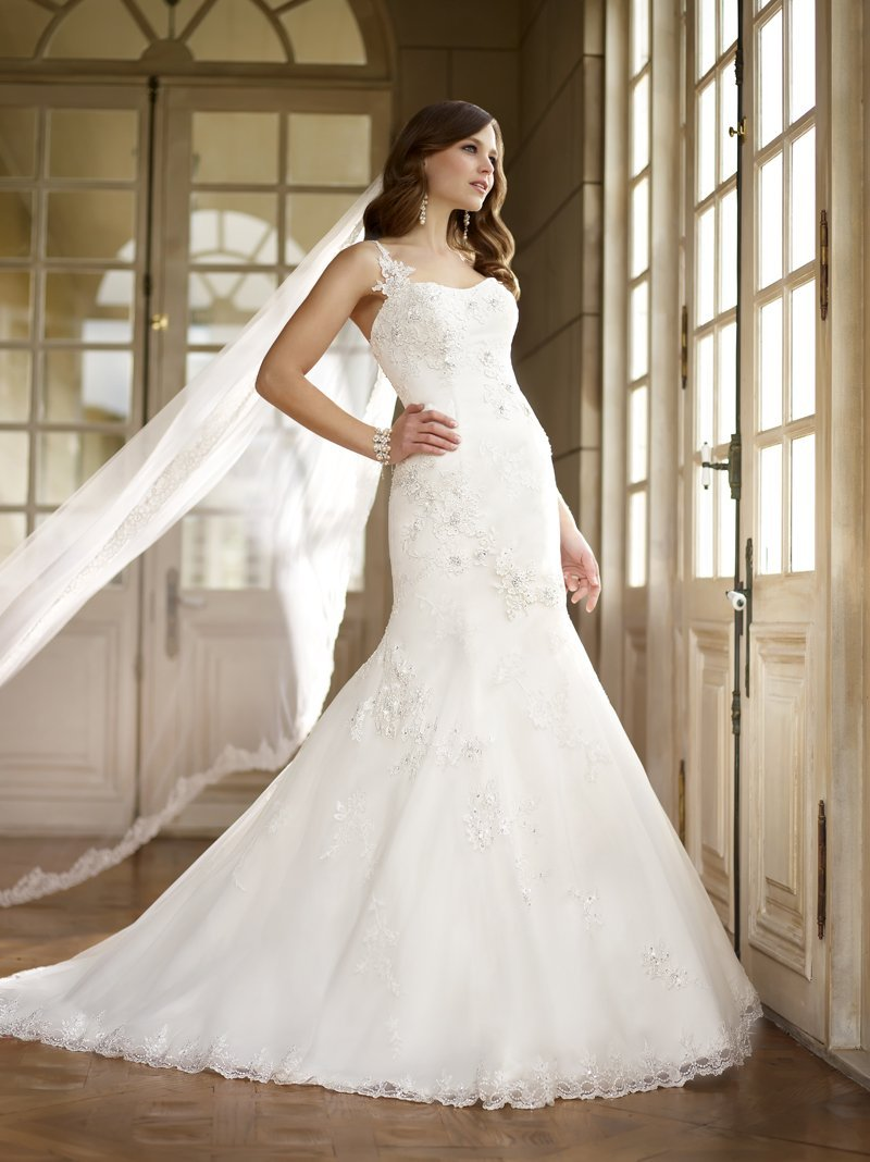 Wedding Dresses, Sweetheart Wedding Dresses, One-Shoulder Wedding Dresses, Mermaid Wedding Dresses, Lace Wedding Dresses, Romantic Wedding Dresses, Fashion, white, ivory, Summer, Vineyard, Romantic, Lace, Sweetheart, Beading, Floor, Country, One-shoulder, Fit-n-Flare, Beaded Wedding Dresses, Stella York, Summer Wedding Dresses, Floor Wedding Dresses