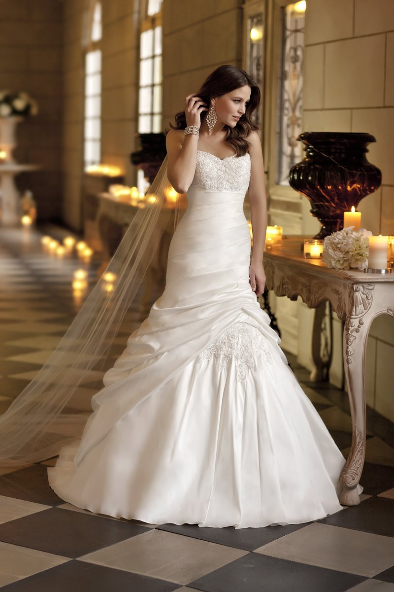 Wedding Dresses, Sweetheart Wedding Dresses, Mermaid Wedding Dresses, Vintage Wedding Dresses, Fashion, white, Vintage, Sweetheart, Strapless, Strapless Wedding Dresses, Beading, Floor, Chiffon, Formal, Ballroom, Museum, Ruching, Fit-n-Flare, Beaded Wedding Dresses, Stella York, Chiffon Wedding Dresses, Formal Wedding Dresses, Floor Wedding Dresses
