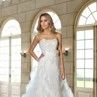 Wedding Dresses, Sweetheart Wedding Dresses, A-line Wedding Dresses, Ruffled Wedding Dresses, Lace Wedding Dresses, Romantic Wedding Dresses, Fashion, white, ivory, Garden, Flowers, Boho Chic, Romantic, Lace, Sweetheart, Strapless, Strapless Wedding Dresses, A-line, Beading, Floor, Organza, Ruffles, Sash/Belt, Beaded Wedding Dresses, organza wedding dresses, Boho Chic Wedding Dresses, Stella York, Flower Wedding Dresses, Floor Wedding Dresses, Sash Wedding Dresses, Belt Wedding Dresses