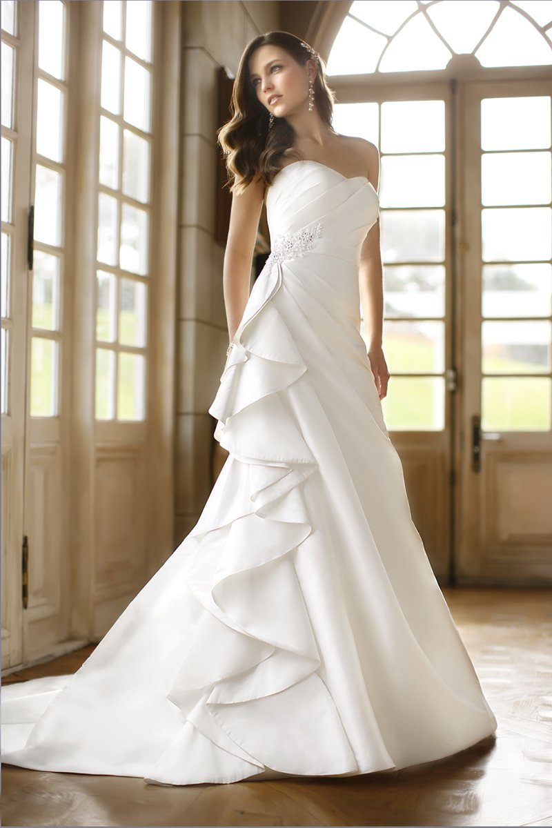 Wedding Dresses, Sweetheart Wedding Dresses, A-line Wedding Dresses, Ruffled Wedding Dresses, Hollywood Glam Wedding Dresses, Fashion, white, ivory, Classic, Sweetheart, Strapless, Strapless Wedding Dresses, A-line, Beading, Floor, Natural, Ballroom, Silk, Ruffles, Pleats, hollywood glam, Beaded Wedding Dresses, Classic Wedding Dresses, Stella York, Silk Wedding Dresses, Floor Wedding Dresses