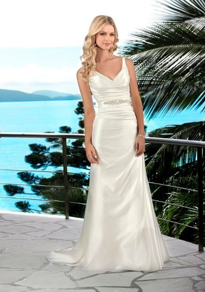 Wedding Dresses, A-line Wedding Dresses, Beach Wedding Dresses, Fashion, white, ivory, Beach, Modern, A-line, Beading, V-neck, V-neck Wedding Dresses, Satin, Floor, Natural, Modest, Sleeveless, Ruching, Sash/Belt, Modern Wedding Dresses, Beaded Wedding Dresses, Stella York, satin wedding dresses, Floor Wedding Dresses, Modest Wedding Dresses, Sash Wedding Dresses, Belt Wedding Dresses