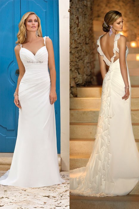 Wedding Dresses, Sweetheart Wedding Dresses, Ruffled Wedding Dresses, Beach Wedding Dresses, Fashion, white, ivory, Beach, Boho Chic, Sweetheart, Beading, Sheath, Floor, Chiffon, Natural, Ruffles, Modest, Sleeveless, Ruching, Beaded Wedding Dresses, Boho Chic Wedding Dresses, Stella York, Sheath Wedding Dresses, Chiffon Wedding Dresses, Floor Wedding Dresses, Modest Wedding Dresses