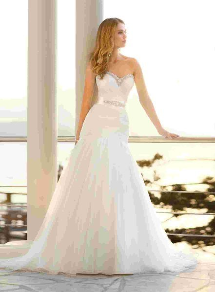 Wedding Dresses, Sweetheart Wedding Dresses, Mermaid Wedding Dresses, Fashion, white, ivory, Modern, Sweetheart, Strapless, Strapless Wedding Dresses, Beading, Empire, Tulle, Floor, Formal, Sleeveless, Mermaid/Trumpet, Sash/Belt, Fit-n-Flare, Modern Wedding Dresses, Beaded Wedding Dresses, trumpet wedding dresses, tulle wedding dresses, Stella York, Formal Wedding Dresses, Floor Wedding Dresses, Sash Wedding Dresses, Belt Wedding Dresses