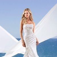 Wedding Dresses, Mermaid Wedding Dresses, Lace Wedding Dresses, Fashion, white, ivory, Modern, Lace, Strapless, Strapless Wedding Dresses, Satin, Floor, Formal, Scoop, Dropped, Sleeveless, Ruching, Mermaid/Trumpet, Fit-n-Flare, Modern Wedding Dresses, trumpet wedding dresses, Stella York, satin wedding dresses, Formal Wedding Dresses, Scoop Neckline Wedding Dresses, Floor Wedding Dresses