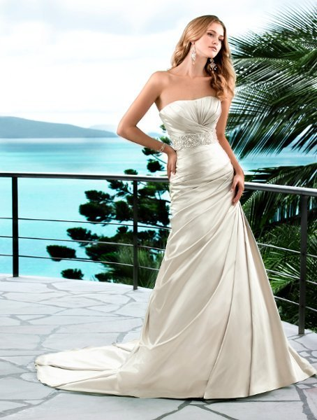 Wedding Dresses, A-line Wedding Dresses, Fashion, white, ivory, silver, Modern, Square, Strapless, Strapless Wedding Dresses, A-line, Beading, Satin, Floor, Formal, Dropped, Sleeveless, Ruching, Sash/Belt, Modern Wedding Dresses, Beaded Wedding Dresses, Stella York, satin wedding dresses, Square Neckline Wedding Dresses, Formal Wedding Dresses, Floor Wedding Dresses, Sash Wedding Dresses, Belt Wedding Dresses