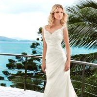 Wedding Dresses, Sweetheart Wedding Dresses, A-line Wedding Dresses, Lace Wedding Dresses, Beach Wedding Dresses, Fashion, white, ivory, Beach, Boho Chic, Lace, Sweetheart, A-line, V-neck, V-neck Wedding Dresses, Satin, Floor, Dropped, Modest, Pleats, Sleeveless, Ruching, Boho Chic Wedding Dresses, Stella York, satin wedding dresses, Floor Wedding Dresses, Modest Wedding Dresses