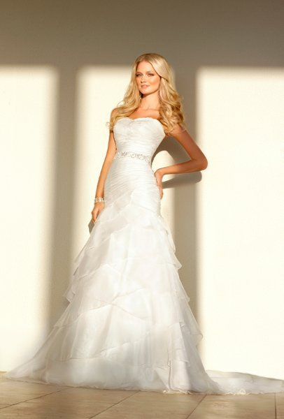 Wedding Dresses, Sweetheart Wedding Dresses, Mermaid Wedding Dresses, Ruffled Wedding Dresses, Fashion, white, ivory, Modern, Sweetheart, Strapless, Strapless Wedding Dresses, Beading, Empire, Floor, Formal, Organza, Ruffles, Sleeveless, Ruching, Sash/Belt, Fit-n-Flare, Modern Wedding Dresses, Beaded Wedding Dresses, organza wedding dresses, Stella York, Formal Wedding Dresses, Floor Wedding Dresses, Sash Wedding Dresses, Belt Wedding Dresses
